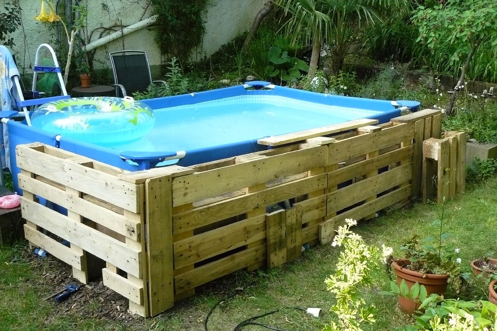 Hervorragend Pool mit Paletten einfassen DIY | Dragonflys Gartenblog XM72