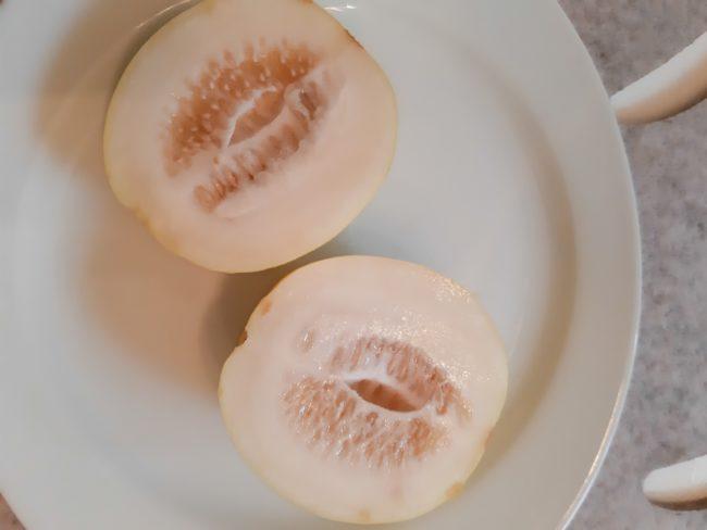 Vinepeach-Melon oder auch Pfirsichmelonen oder Mangomelonen Cucumis melo cv. 'Vine Peach'