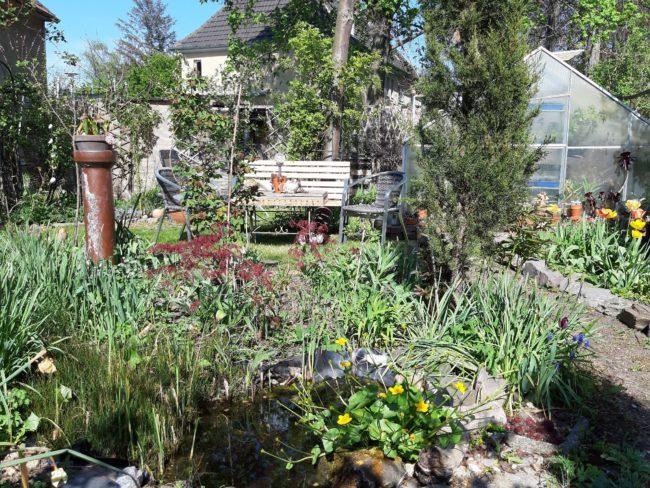 Gartenbank im Frühling