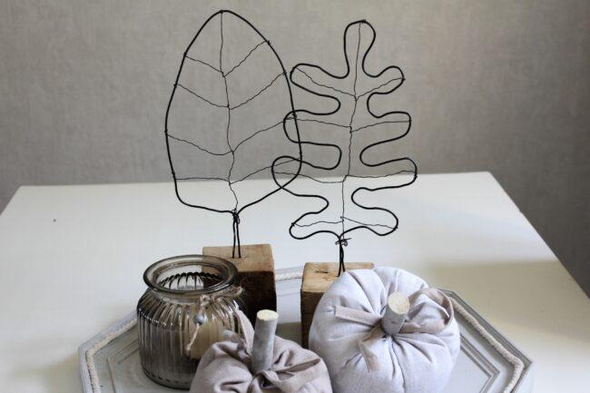 Herbstdeko Drahtblätter DIY